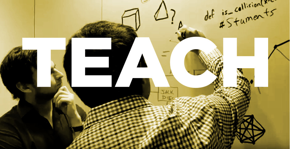 "image of men writing on whiteboard with the word ""teach"""